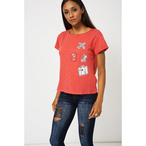 Side Tie Up Red T-shirt With Front Print