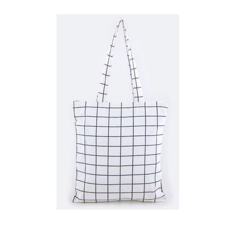 White Checker Tote