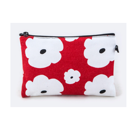 Red and White Flower Canvas Pouch