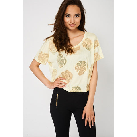 Floral Rose Detail Yellow Top