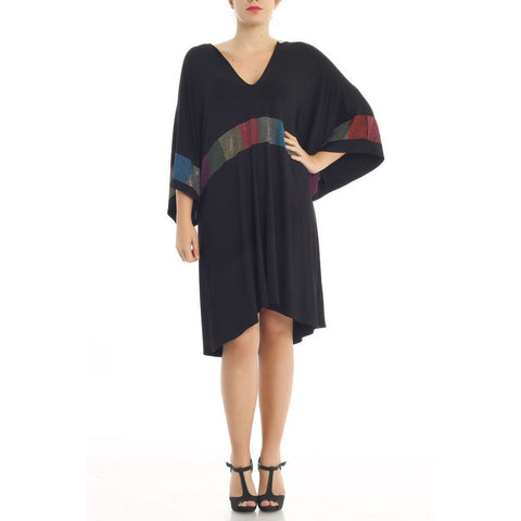Plus size Black V Neck Colorful Stoney Detail Midi Dress