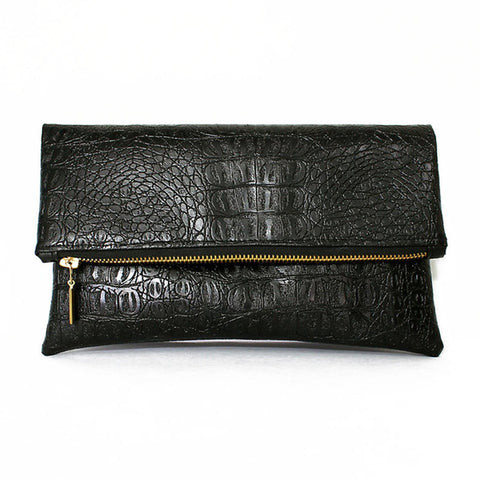 Black Croc Vegan Leather Foldover Clutch