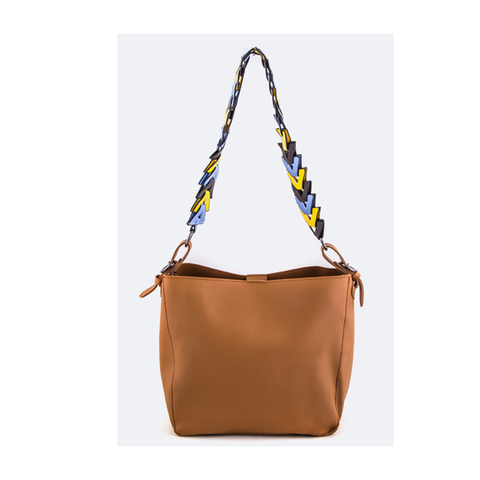 Brown Colorful Strap Tote