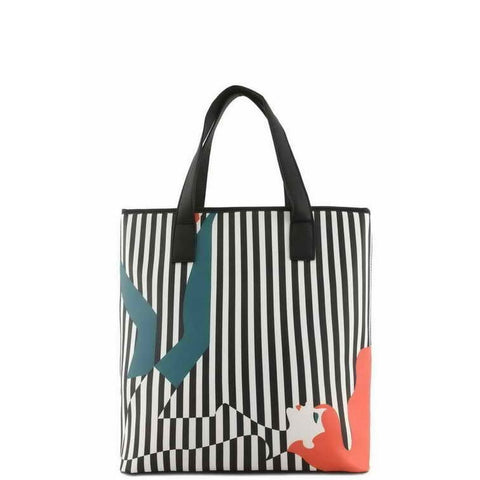 Black Striped Illusion Faux Leather Tote