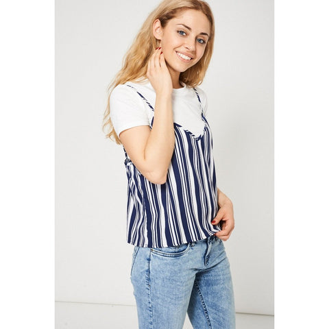 2 in 1 White T-Shirt With Striped Cami