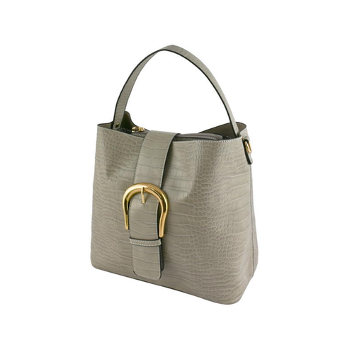 Grey Faux Crocadile Buckle Bag