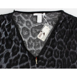 Cavalli Gray leopard v-neck top