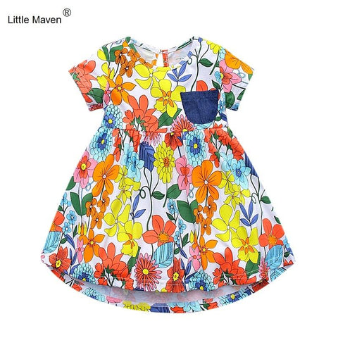 1-6 Years Girls Short Sleeve Floral Summer Dress Cotton Casual