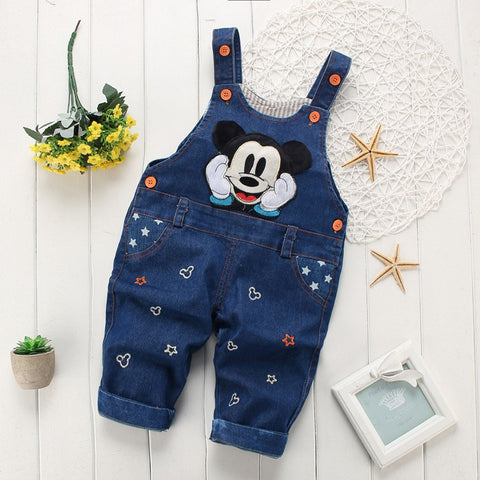 children Denim Overall Trousers kids cartoon infant jeans
