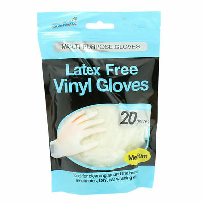 Sta-Brite Latex Free Vinyl Gloves Medium 20 Pack