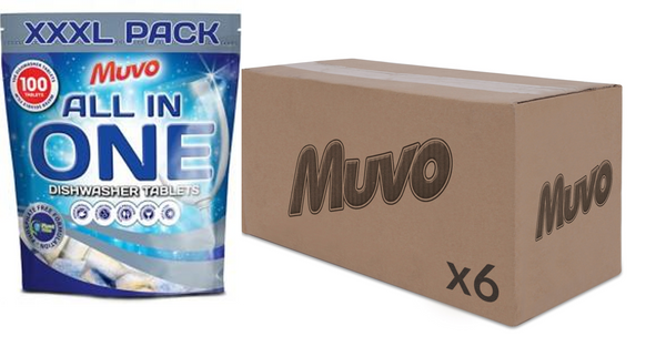 Muvo All In One Dishwasher Tablets 100 Washes CASE(6 X UNITS)