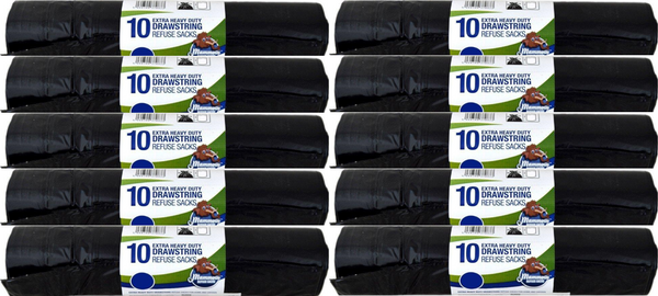Mammoth 10 Extra Heavy Duty Drawstring Refuse Sacks 60ltr Case of 20