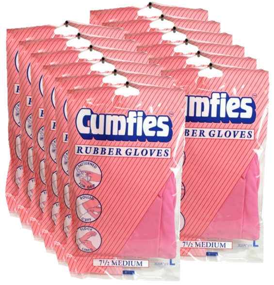 Cumfies Pink 7 1/2 Medium Rubber Gloves Case of 12