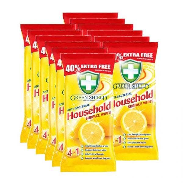 Green Shield Anti-Bacterial Household Surface Wipes 70s Case of 12