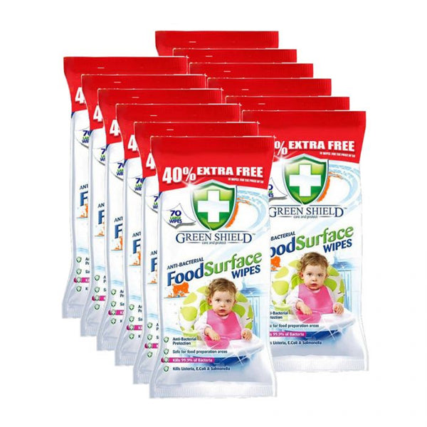 Green Shield Anti-Bacterial Food Surface Wipes 70s Case of 12