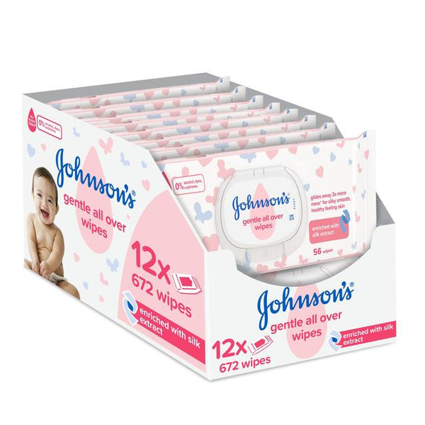 Johnsons Gentle All Over Wipes Case x 12