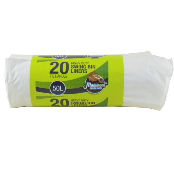 Mammoth 20 Tie Handle Heavy Duty Swing Bin Liners 50l