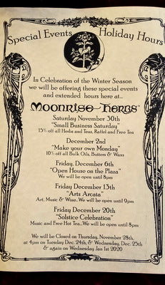 Moonrise Herbs Special News, Sales/Events & Recipes for the Holidays!