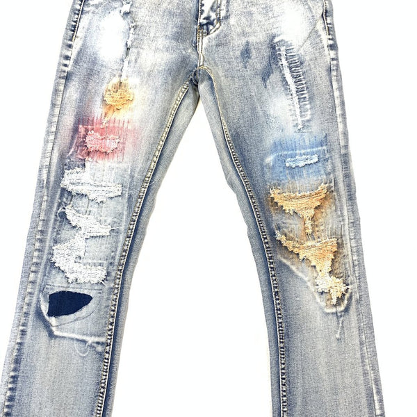Blue Painted Ripped Denim Jeans
