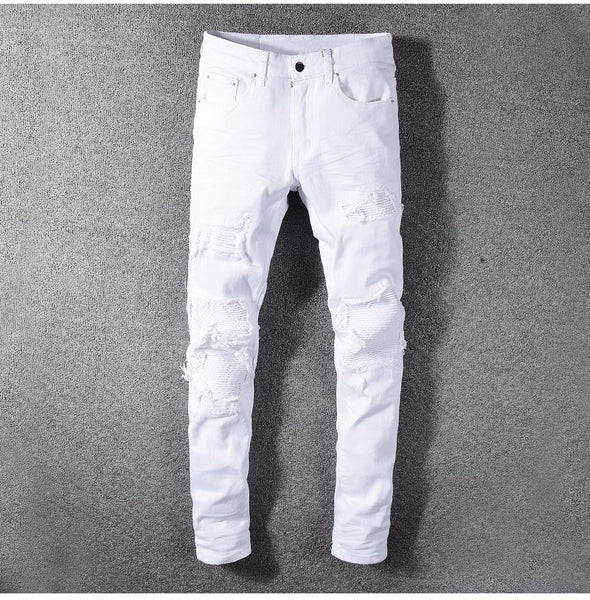super white stretch ripped biker jeans