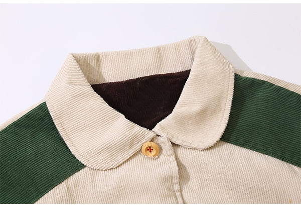 Corduroy Color Block Reverse Pocket Jacket