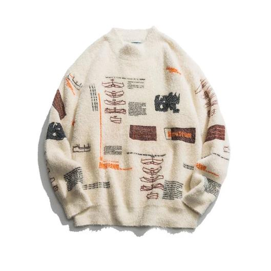 Graffiti Turtleneck Knitted Pullover Sweater - limetliss