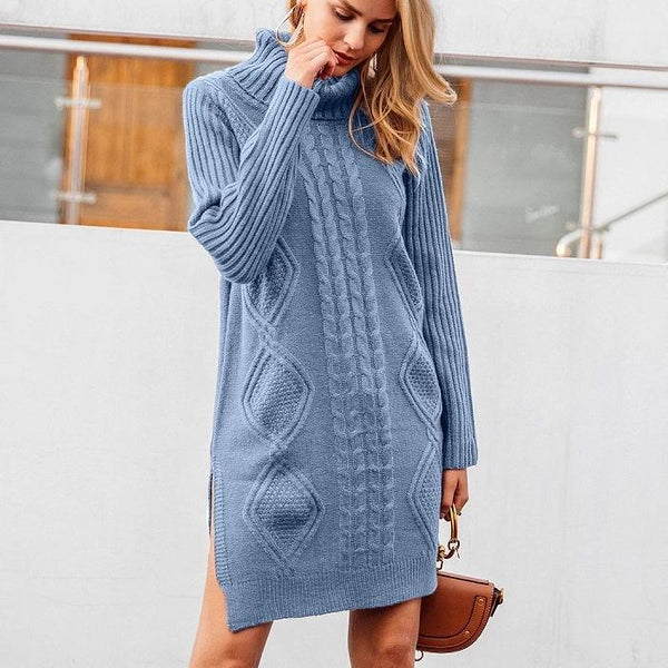 turtleneck high split knitting pullover - limetliss