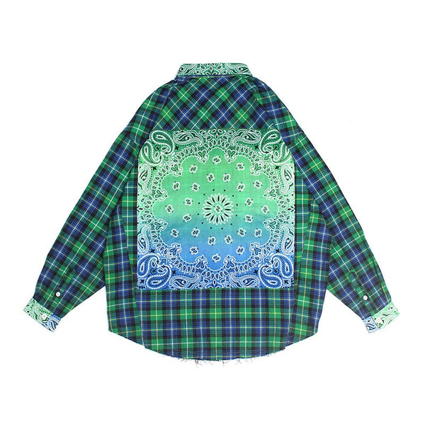 Bandana Checker Flannel Street Shirt - limetliss