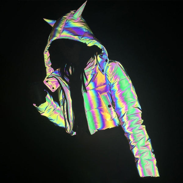 Reflective Unicorn Hooded Bomber Jacket - limetliss