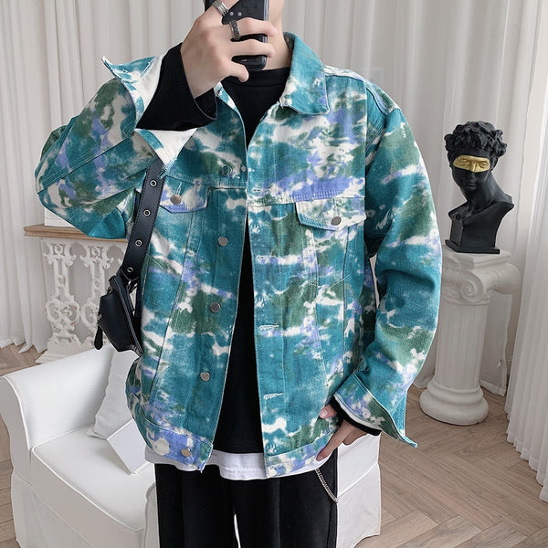 Tie-dyed Blouson Denim Jacket
