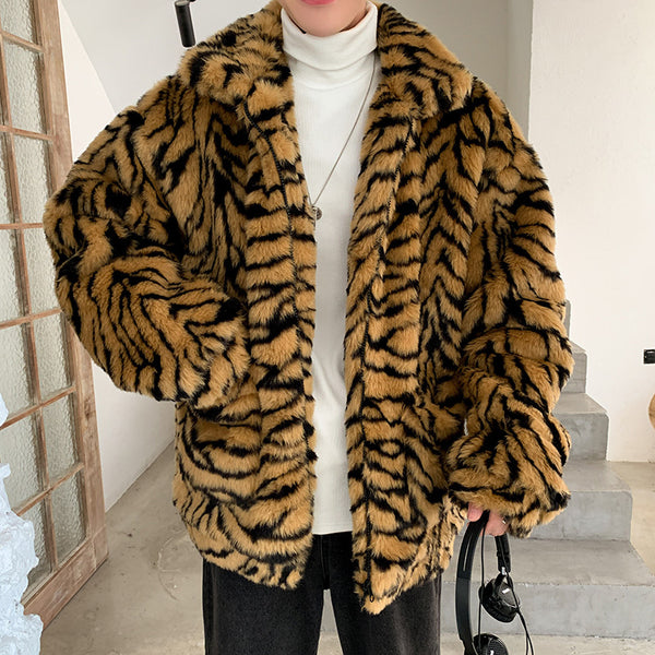 Tiger Stripe Fur Coat
