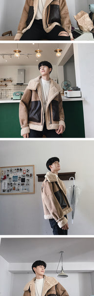 lamb shearling biker jacket - limetliss