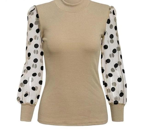 patchwork polka dot puff sleeve blouse - limetliss