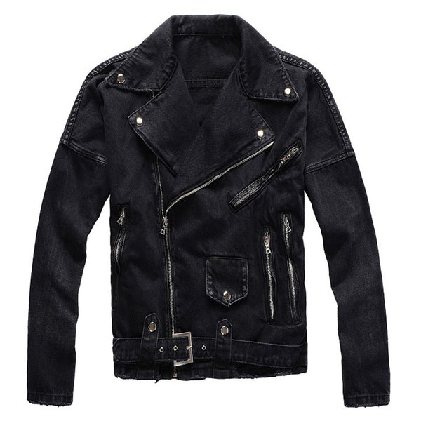 black biker denim jean jacket