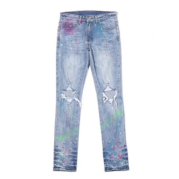 Stonewashed Spray Painted  Denim Jeans - limetliss
