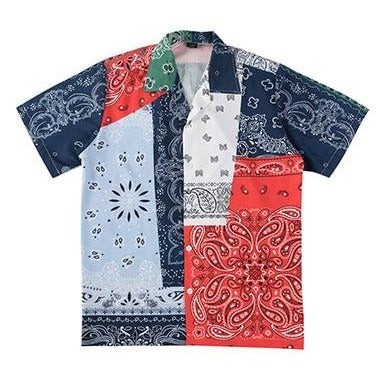 Bandana Patched Hawaiian Shirt - limetliss