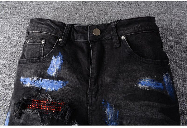 black & red crystal blue painted denim jeans - limetliss