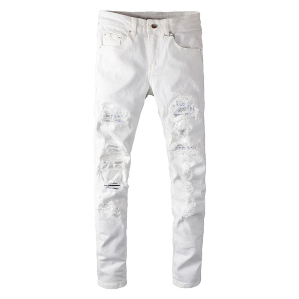 white crystal holes ripped jeans