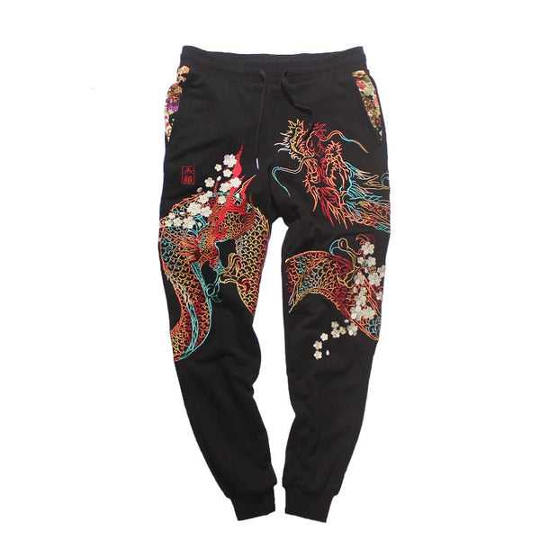 Magic Dragon Embroidered Joggers - limetliss