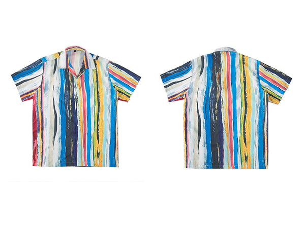 Vangogh Painted Striped Button Up Tee
