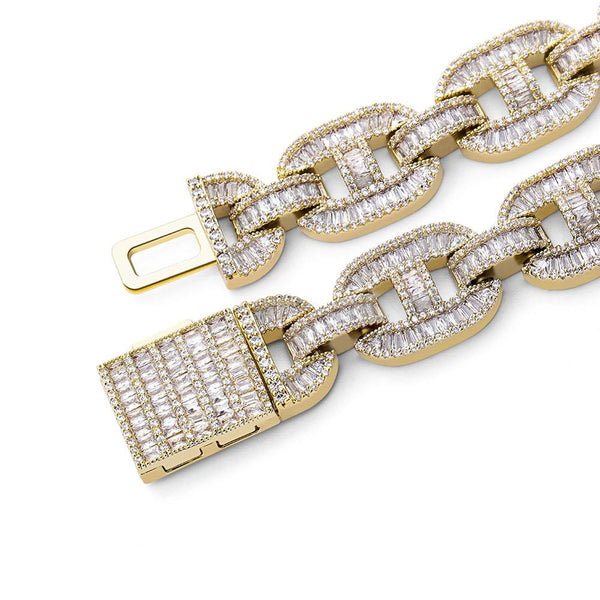 Iced Out Baguette Linked Chain