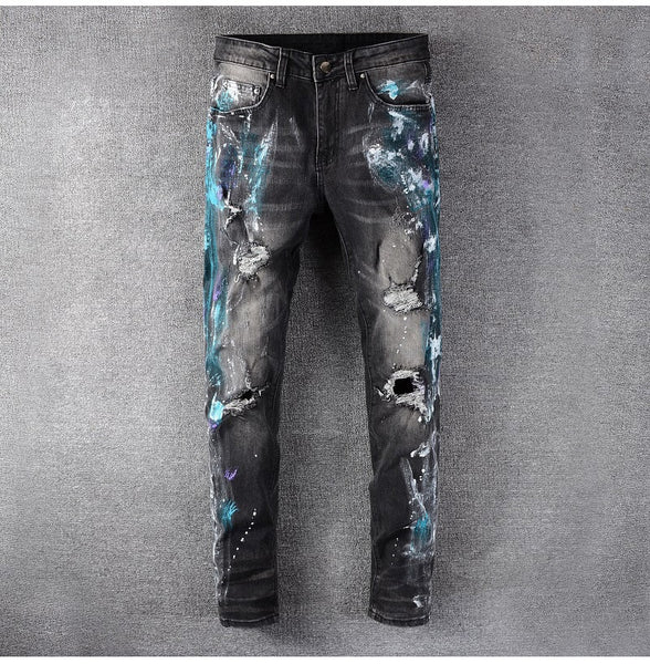 blue crush painted ripped jeans