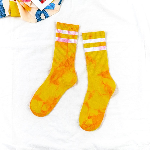 Tie Dye Double Striped Socks