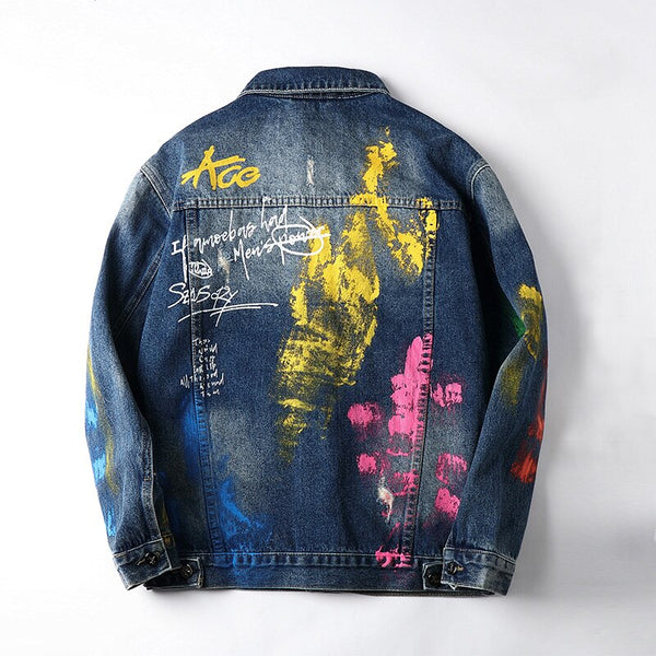 fire flame painted jean jacket