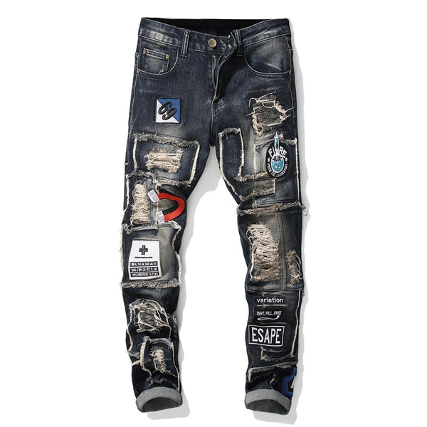 embroidered patchwork ripped stretch denim jeans
