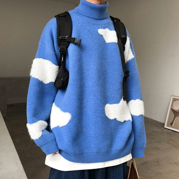 Cloud Knitted Cashmere Turtleneck Pullover