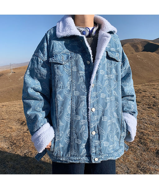 Paisley Denim Shearling Jacket