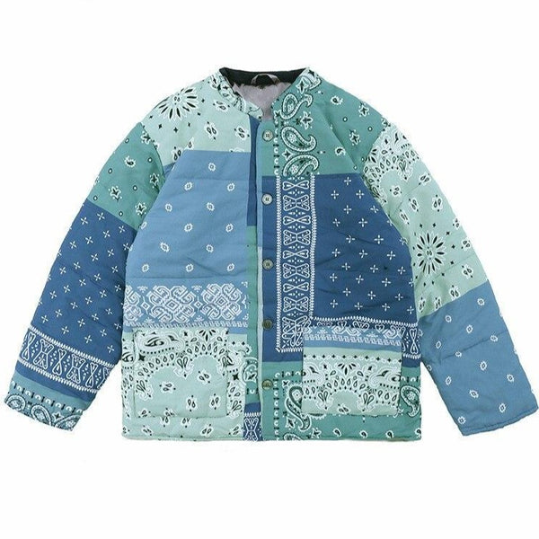 Patched Paisley Bomber Jacket