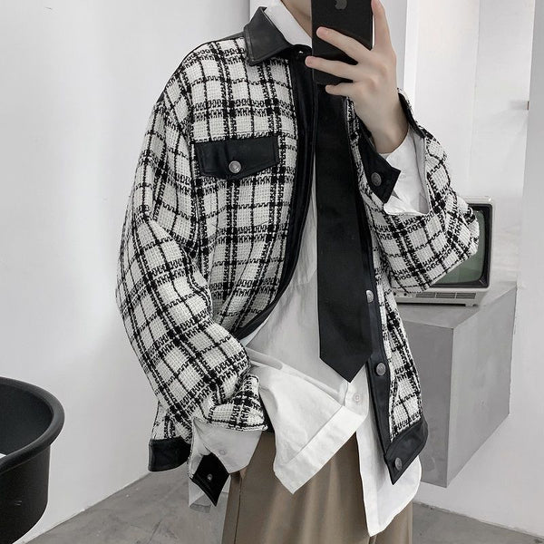 Plaid Faux-Leather Light Jacket