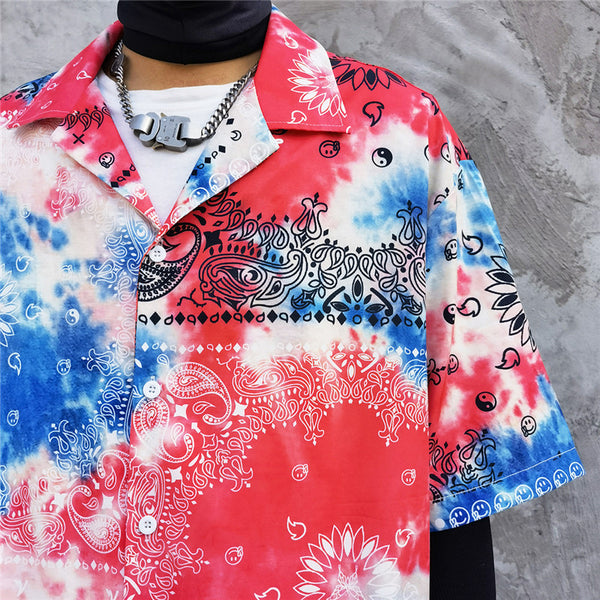 Freedom Paisley Tie-dyed Harajuku Beach Shirt